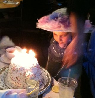 Izz with teapot cake